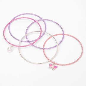 Claire's Club Pink & Purple Butterfly Bangle Bracelets - 5 Pack,