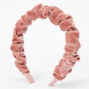 Ruffled Velvet Headband - Blush Pink,