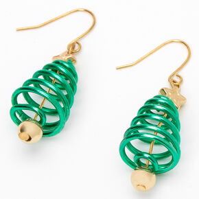 "Gold 1.5"" Spiral Christmas Tree Drop Earrings - Green,"