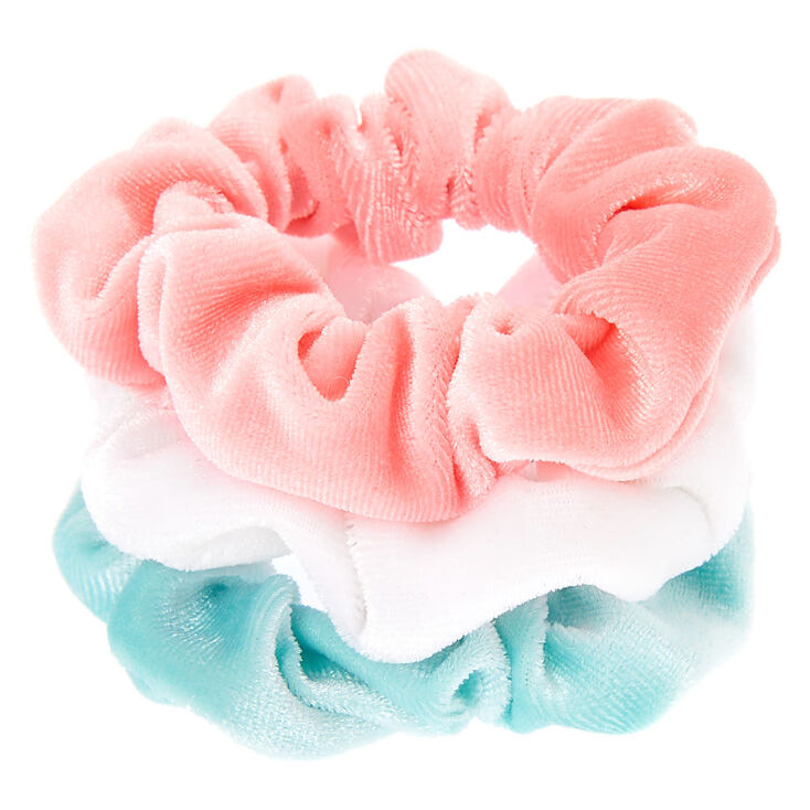 Claire's Club Small Pastel Velvet Hair Scrunchies - 3 Pack,
