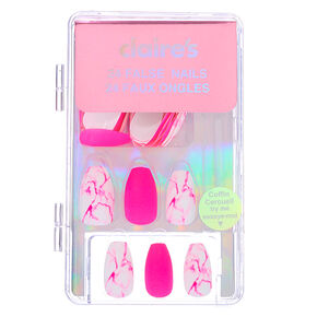 Mixed Neon Matte & Marble Coffin Faux Nail Set - Pink, 24 Pack,