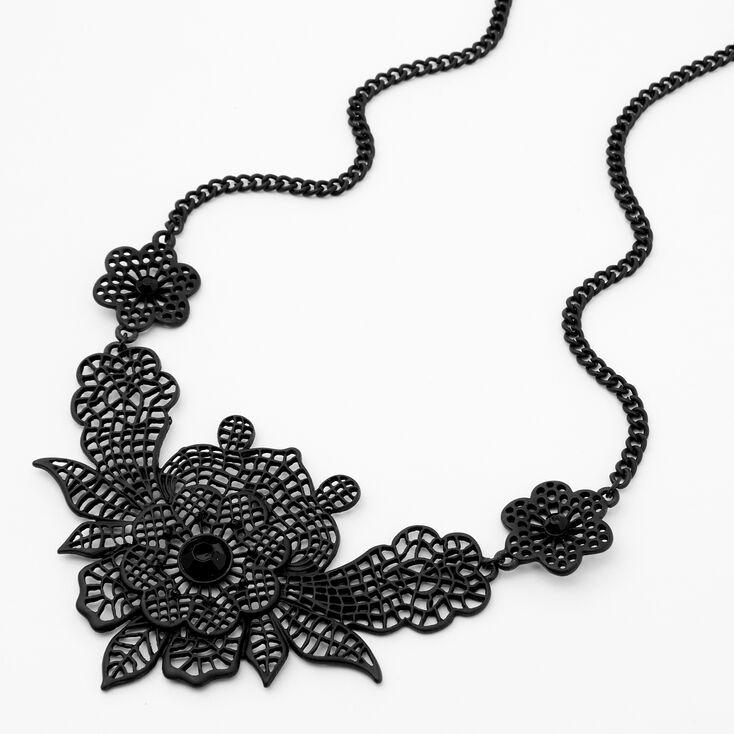 Collier tendance à fleurs en filigrane noir,