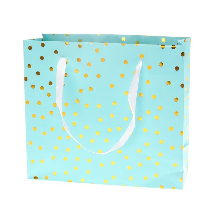 Perfect Mint Green and Gold Polka Dot Medium Gift Bag | Claire's US KI04
