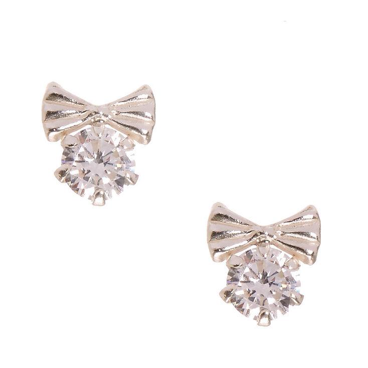 Sterling Silver Cubic Zirconia Crystal Bow Stud Earrings