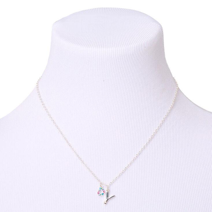 Coffret cadeau parure de bijoux à initiale Y arc-en-ciel couleur argenté - Lot de 4,