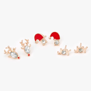 Rose Gold Christmas Stone Stud Earrings - 3 Pack,