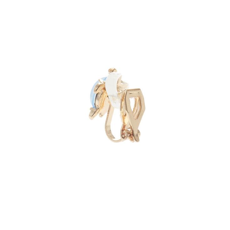 Clous d'oreilles à clip tortue pierre en opale d'imitation couleur dorée,