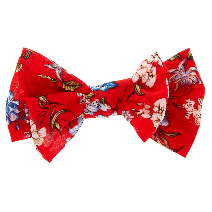 Floral Double Floppy Hair Bow Clip - Red,
