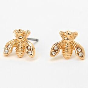 Clous d'oreilles ornementés abeilles couleur dorée,