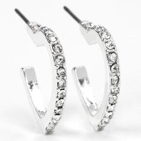 Silver 15MM Embellished Heart Hoop Earrings,