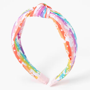 Rainbow Striped Unicorn Knotted Headband,