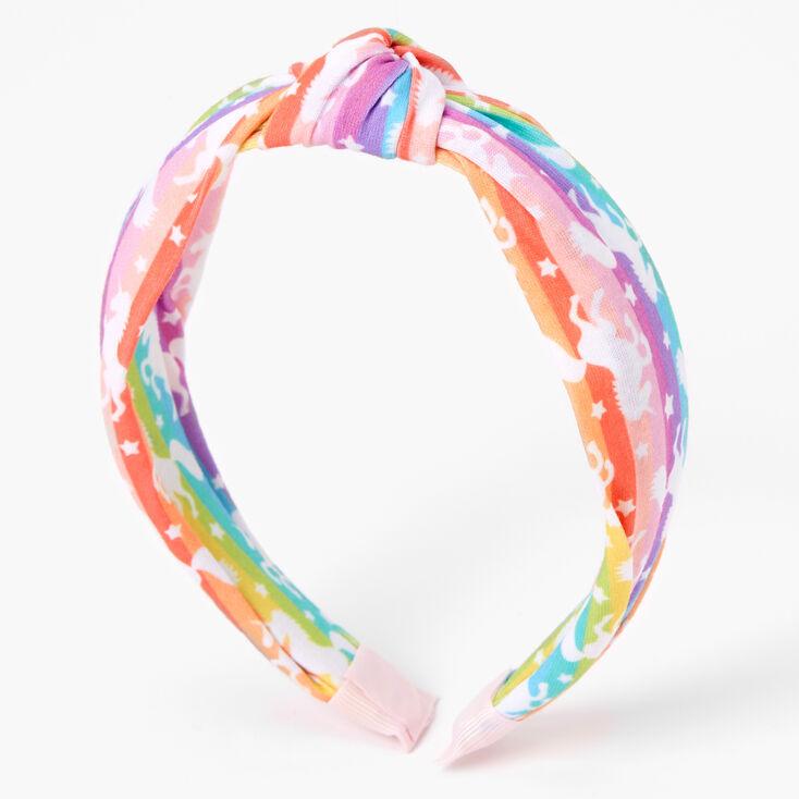 Rainbow Striped Unicorn Knotted Headband,