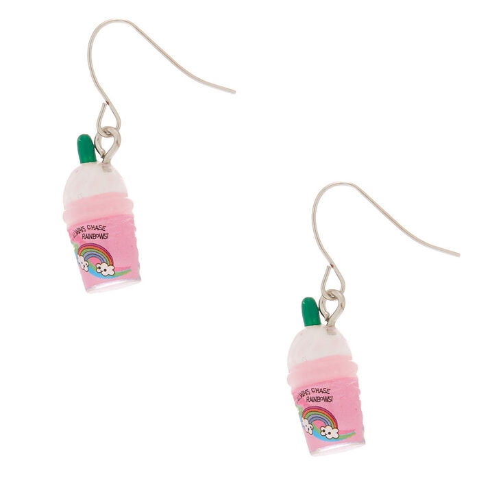 "1"" Unicorn Frappe Drop Earrings - Pink,"