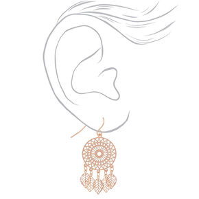 "Rose Gold 1.5"" Dreamcatcher Drop Earrings,"