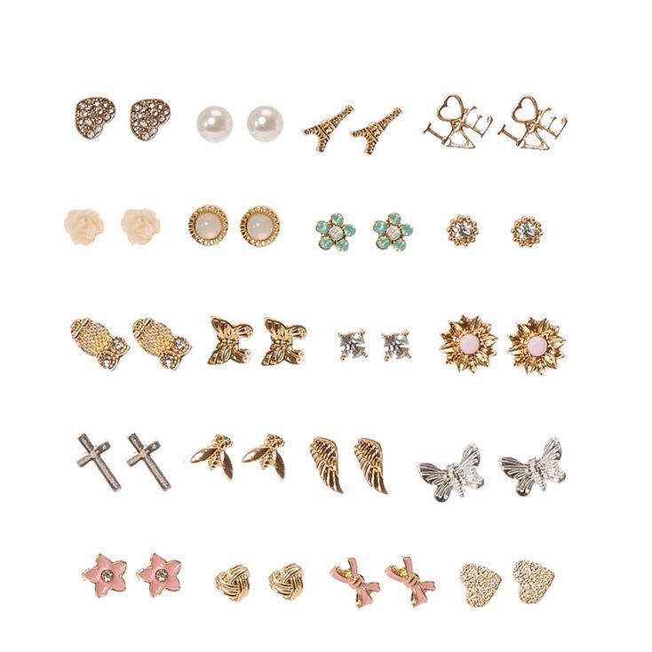 Gold-tone Romantic Motif Stud Earrings - 20 Pack,
