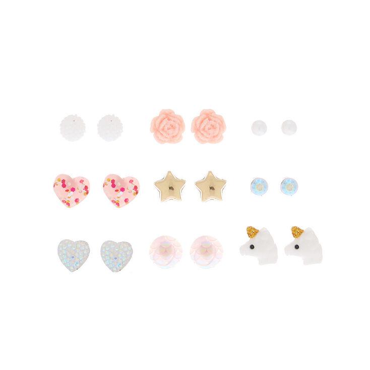 Sweet & Sparkling Stud Earrings - Pink, 9 Pack,