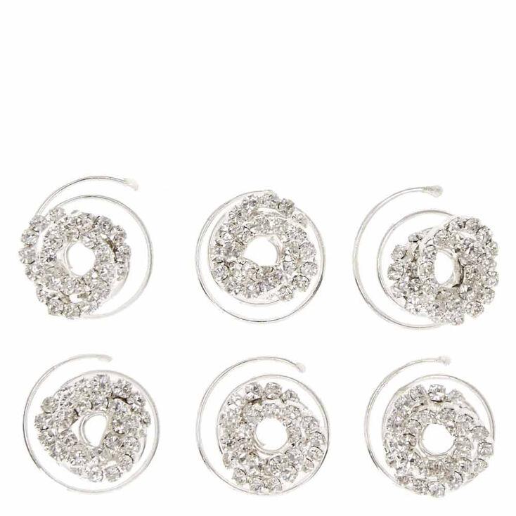 Twisted Glass Rhinestone Hair Spinners - 6 Pack,