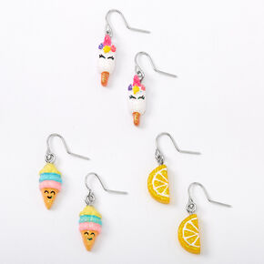 "Silver 0.5"" Summer Treats Drop Earrings - 3 Pack,"