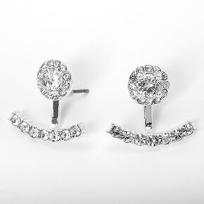 Silver Cubic Zirconia Halo Ear Jacket Earrings,