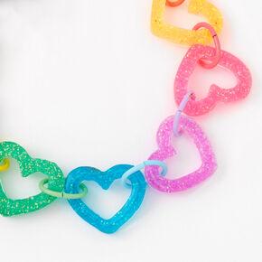 Rainbow Glitter Heart Chain Bracelet,
