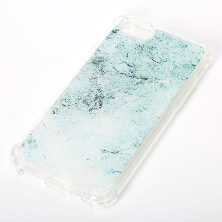 Mint Glitter Marble Protective Phone Case - Fits iPhone 6/7/8/SE,