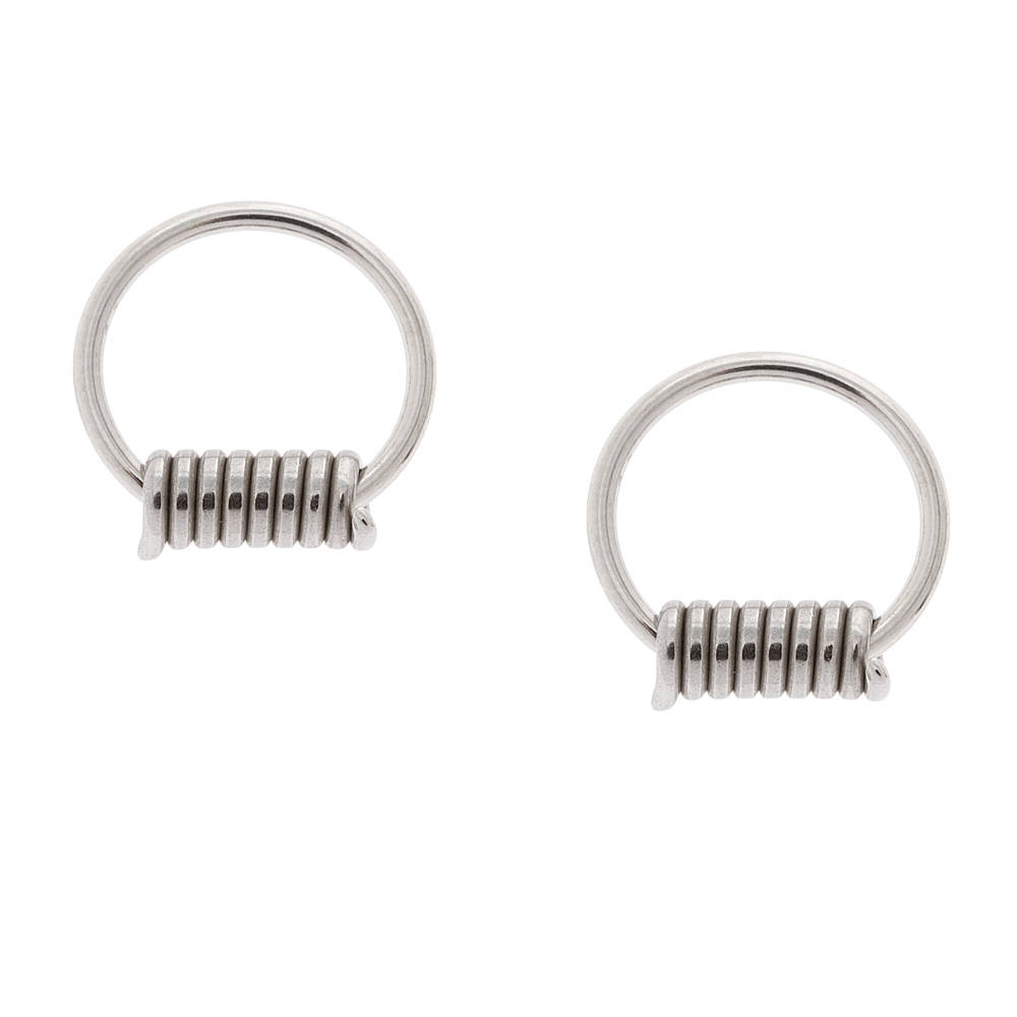 16G Guys Silver Barbed Wire Cartilage Hoop Earrings | Claire\'s US