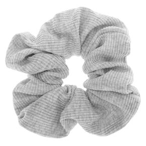 Medium Ribbed Hair Scrunchie - Light Grey,