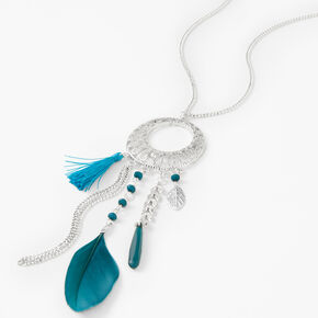 Beaded Filigree Feathers Long Pendant Necklace - Teal,