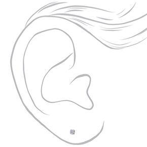 Clous d'oreilles en argent et zircon d'imitation cubique 3mm,