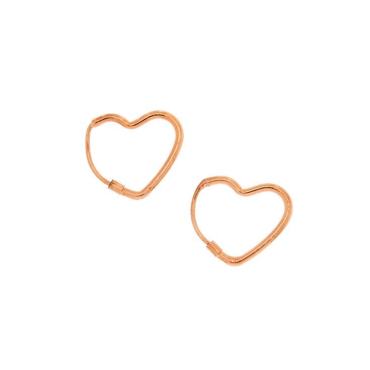 Rose Gold 15MM Heart Hoop Earrings,