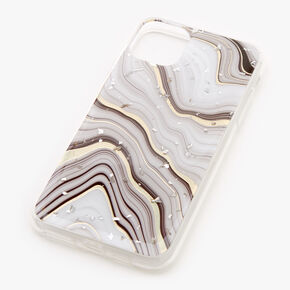 Gold Marble Silver Flake Protective Phone Case - Fits iPhone 11 Pro Max,