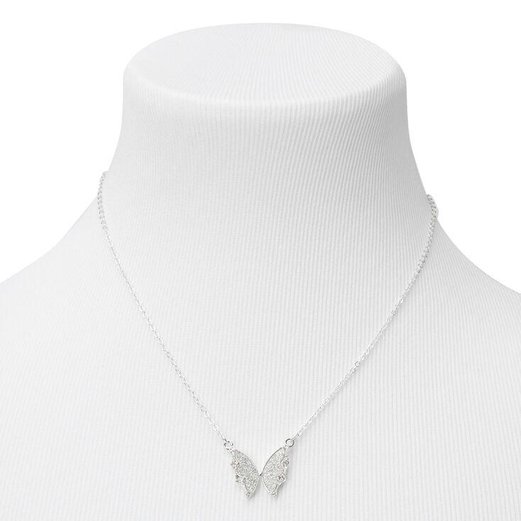 Silver Glitter Butterfly Pendant Necklace,