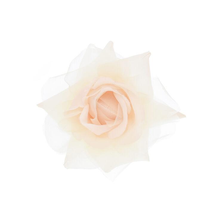 Barrette et broche avec rose de corsage de couleur crème,
