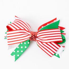 Striped Polka Dot Hair Bow Clip,
