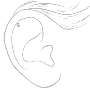 Silver 16G Mixed Cubic Zirconia Helix Stud Earrings - 3 Pack,