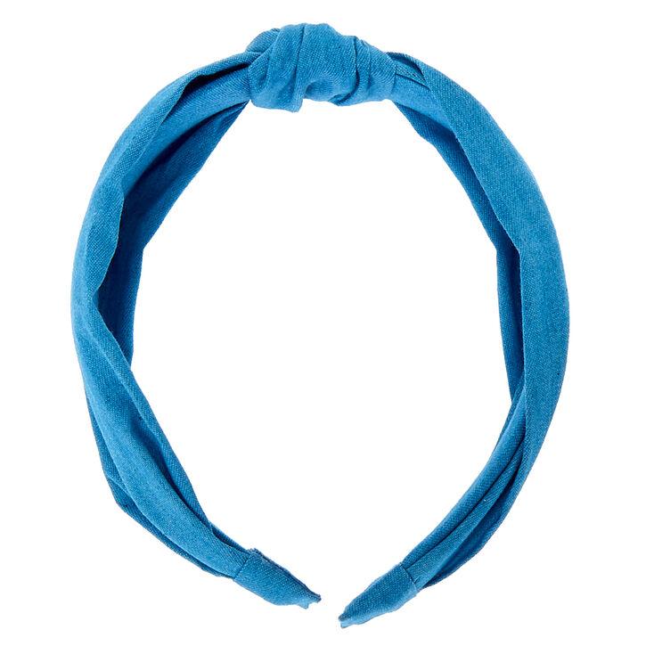 Denim Knotted Headband - Blue,