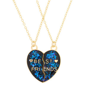 Best Friends Heart Pendant Necklaces - Purple, 2 Pack,