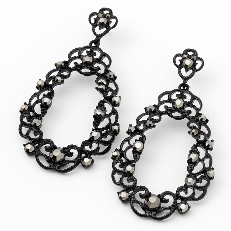 "Jet Black 2"" Filigree Rhinestone Oval Drop Earrings,"