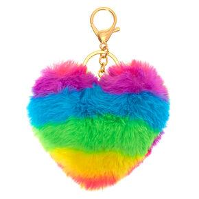 Rainbow Heart Pom Keychain,
