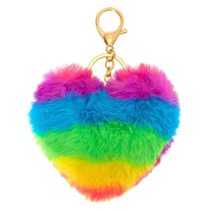Porte-clés à pompons cœur arc-en-ciel,