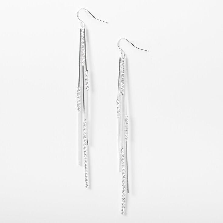"""Silver Rhinestone 4"""" Linear Sticks Drop Earrings,"""