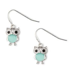 Owl with Colorful Enamel Belly Drop Earrings,