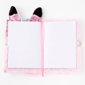 Sequin Fox Furry Lock Diary - Pink,