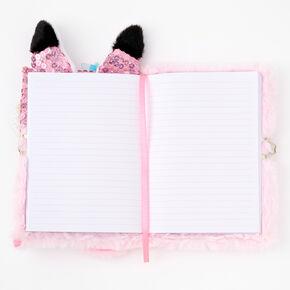 Sequin Fox Furry Lock Diary - Pink,