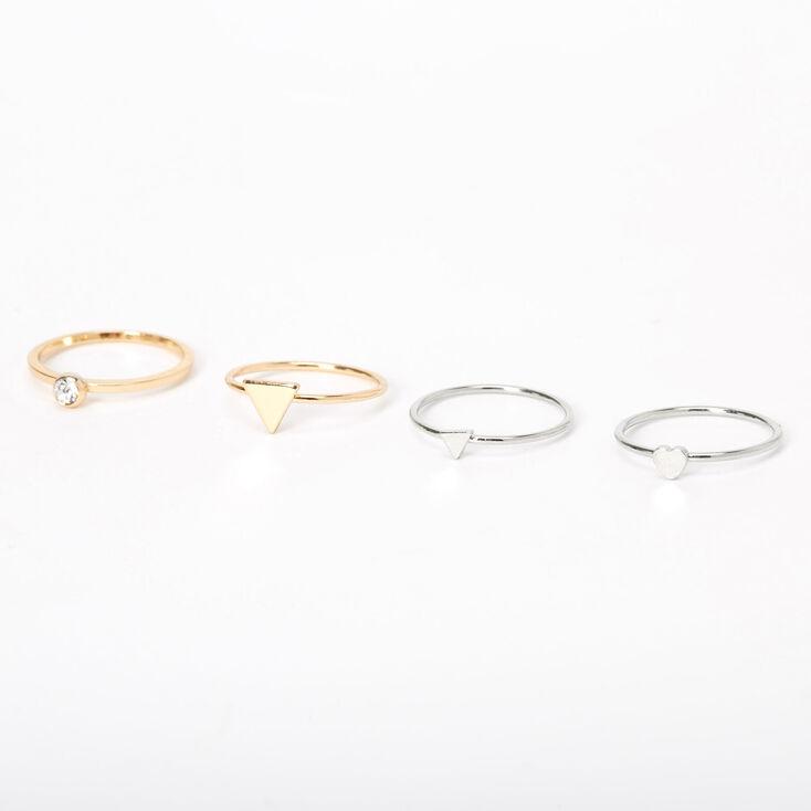 Mixed Metal Simple Geometric Rings - 4 Pack,