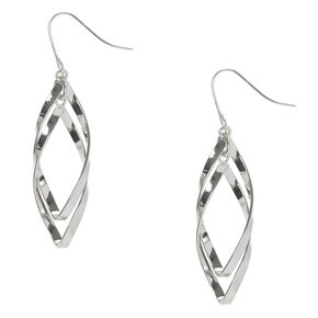 "Silver 2"" Curved Double Ribbon Drop Earrings,"
