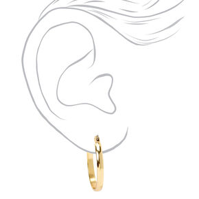 Gold 25MM Thick Hoop Earrings,