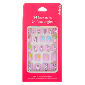 Bunny Square Press On Faux Nail Set - 24 Pack,