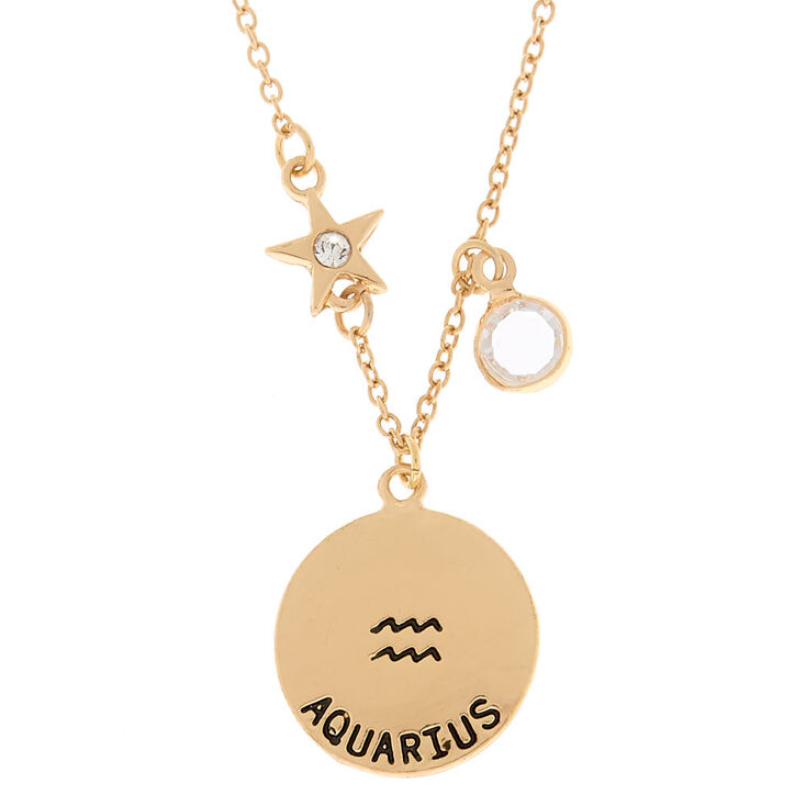 Gold zodiac pendant necklace aquarius claires us gold zodiac pendant necklace aquarius aloadofball Choice Image