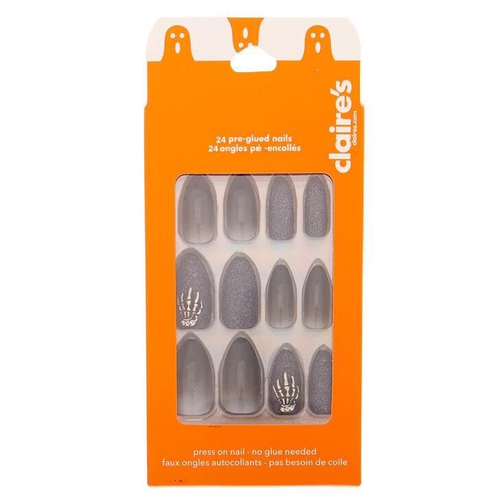 Ombre Glitter Stiletto Faux Nail Set - Black, 24 Pack,